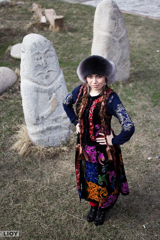 Nooruz portrait of a girl in Kyrgyzstan's traditional costume.