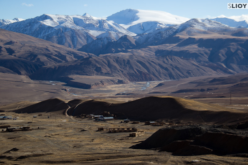 Tian Shan Mountains and Ak-Shyrak Village.