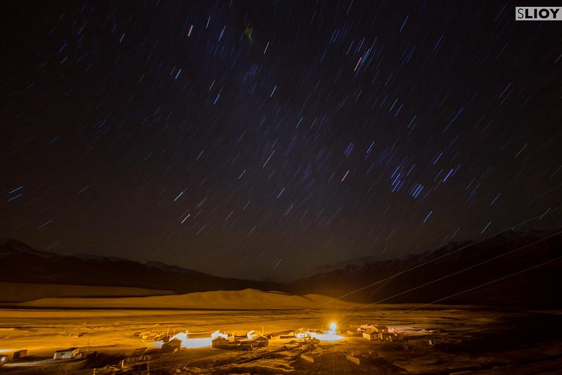 Ak-Shyrak Village at night.