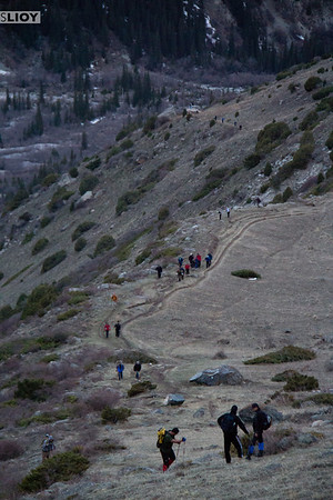 long line of hikers