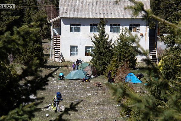setting up camp at ala-archa