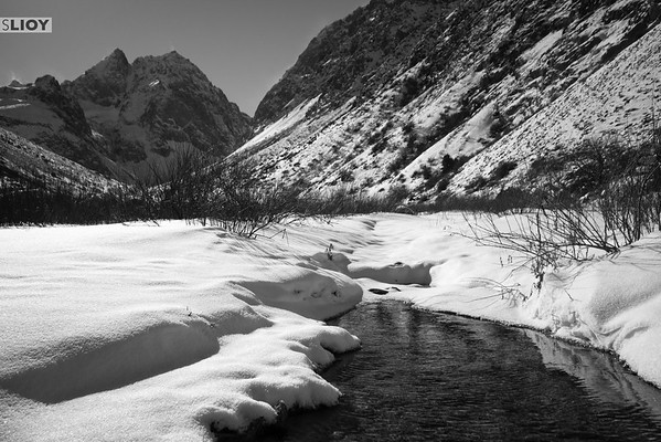 Frozen river in Ala-Archa