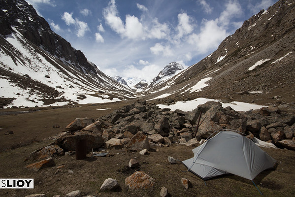 Camping in the Ala-Archa Valley in Kyrgyzstan's Ala-Archa National Park.