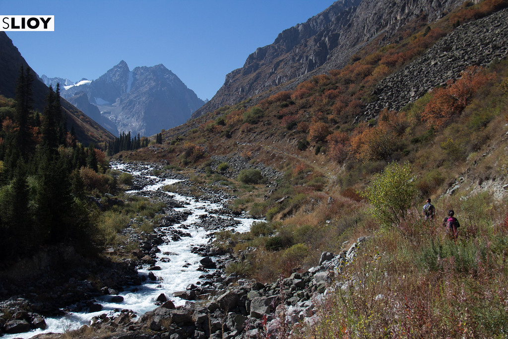 Hiking above the Ala-Archa River in Kyrgyzstan's Ala-Archa National Park.