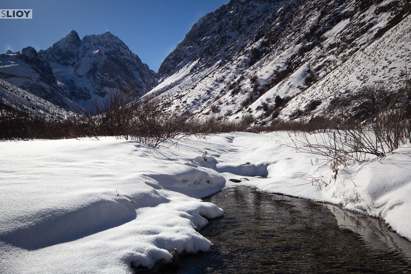 Winter in the Ala Archa gorge.