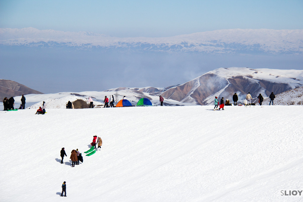 Sledding hill at ZiL Ski Base in Kyrgyzstan.