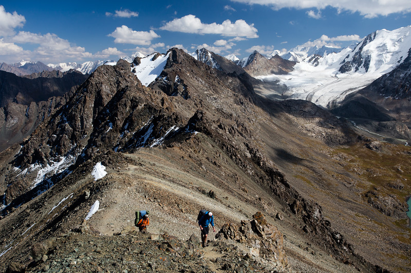 Hiking up the Ala-Kol north pass in the Tien Shan mountains near Karakol in Kyrgyzstan.