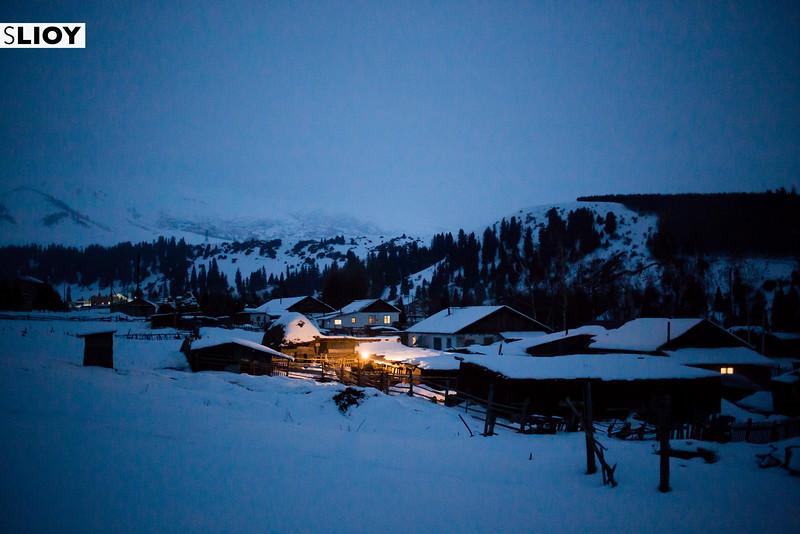 Tian Shan Mountains Winter Night In Jyrgalan Village in the Issyk-Kol region of Kyrgyzstan.