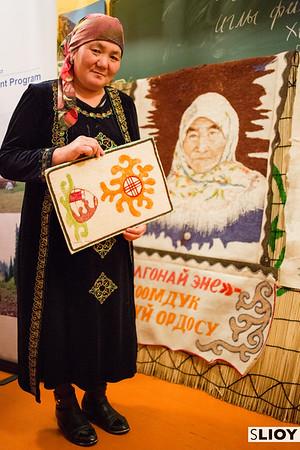 Eje with feltwork handicrafts in Jyrgalan Kyrgyzstan