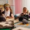 Ladies making feltwork handicrafts in Jyrgalan Kyrgyzstan