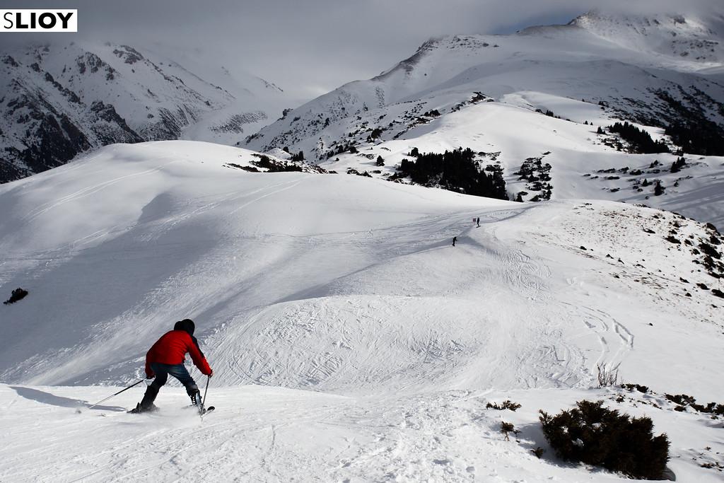 Skiing at Karakol Ski Base's Panorama Lift in Kyrgyzstan.