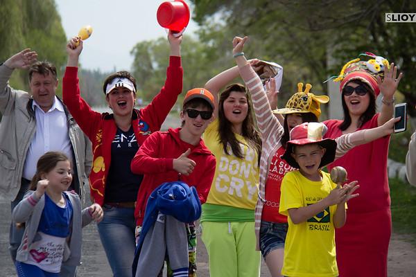 spectators at a marathon