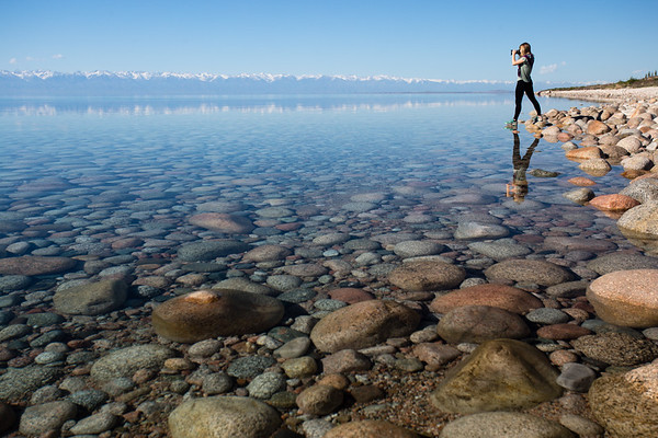 Reflections on the South Shore of Issyk-Kol Lake in Kyrgyzstan.