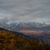 View of the Tien Shan at sunrise from the Shatyly Overlook in Kyrgyzstan's Issyk-Kol region.