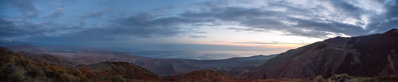 Panorama at sunrise from the Shatyly Overlook in Kyrgyzstan's Issyk-Kol region.