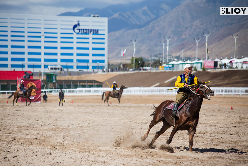 A Kyrgyz rider attacking during the game of Cirit the 2016 World Nomad Games in Kyrgyzstan.