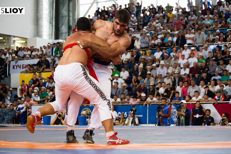 Two wrestlers compete in a fierce match during World Nomad Games 2016 in Kyrgyzstan.