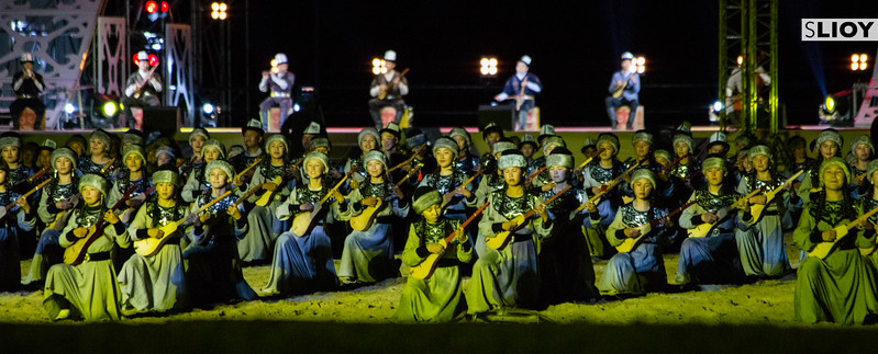 Kyrgyz musicians play the traditional komuz instrument in a record-setting performance during the Opening Ceremony of World Nomad Games 2016 in Kyrgyzstan.