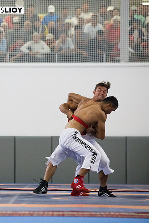 Two wrestlers compete at World Nomad Games 2016 in Kyrgyzstan.