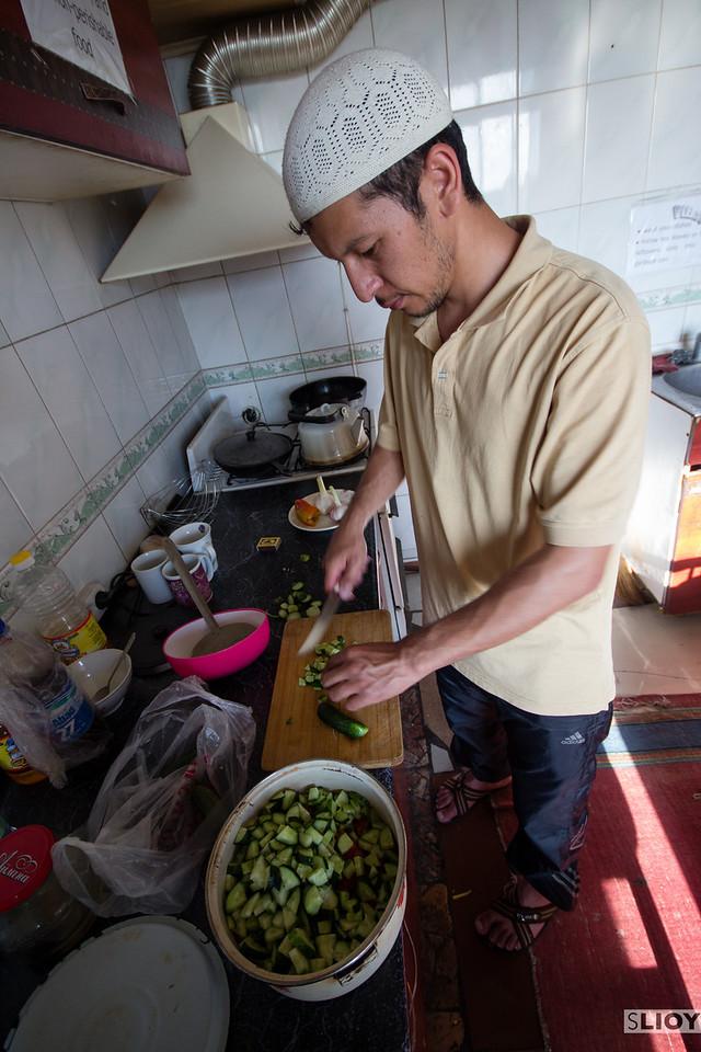 Kyrgyz food in Bishkek cooking Osh Plov