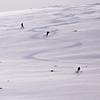 Freeride Skiiers Off-Piste in the Tian Shan Mountains near the village of Jyrgalan in the IssykKol Region of Kyrgyzstan
