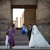 A newlywed couple poses for portraits outside of the Hisor Fortress near Dushanbe, Tajikistan.