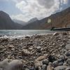 A small boat moored in Iskender Kul lake in Tajikistan's Fann Mountains.