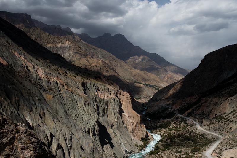 On the highway approaching Iskender-Kul Lake in the Fann Mountains of Tajikistan.