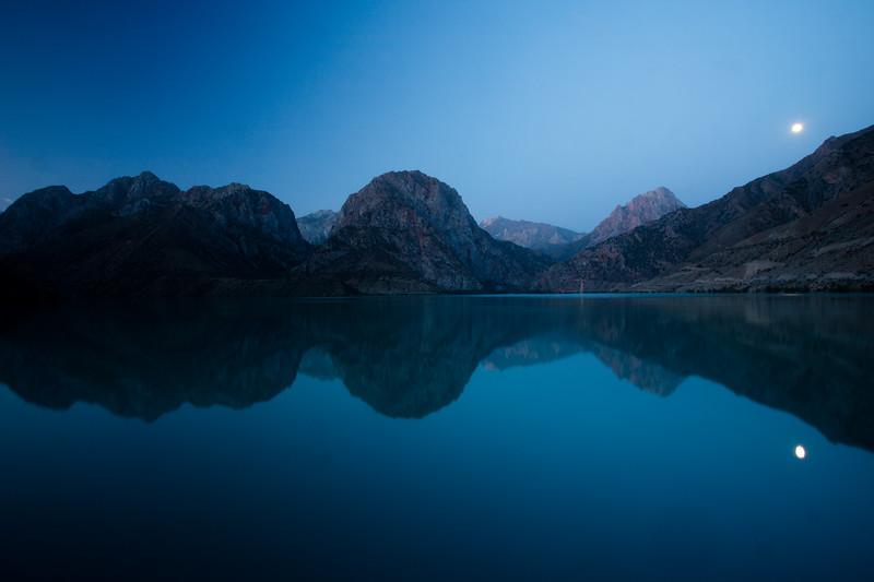 Sunrise over Iskender-Kul in the Fann Mountains of Tajikistan.