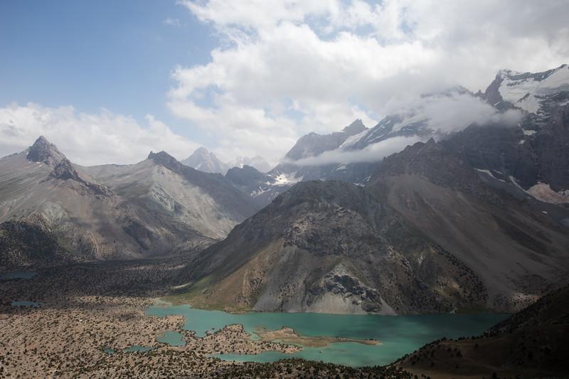 View of the Kulikalon Lakes from the Chukurak Pass in the Fann Mountains of Tajikistan.
