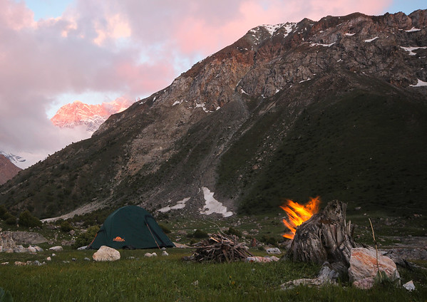 Camping at Kulikalon in the Fan Mountains