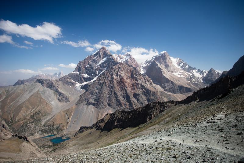 Descending from the Shogun-Aga Pass to the Alauddin Valley in the Fann Mountains of Tajikistan.