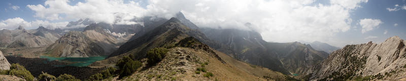 Panorama of the Kulikalon Lakes and Chukurak Valley from the Chukurak Pass in the Fann Mountains of Tajikistan.