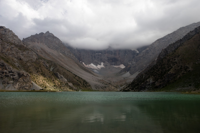 View of the largest Kulikalon Lake and surrounding peaks in the Fann Mountains of Tajikistan.