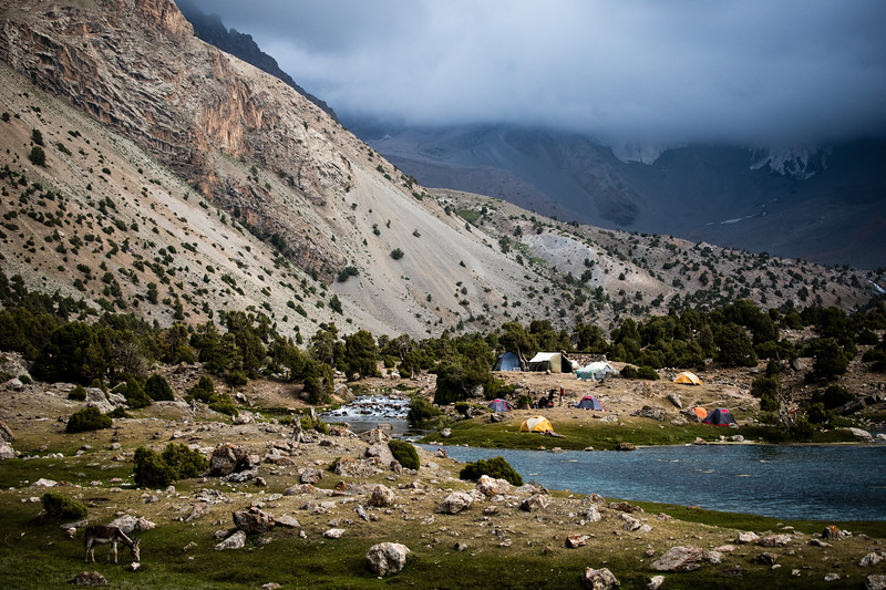 A small camp in the Kulikalon Valley serves basic foods and offers camp sites for independent travellers in Tajikistan's Fann Mountains.