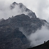 Clouds cover the top of a peak in the Kulikalon Valley of Tajikistan's Fann Mountains.