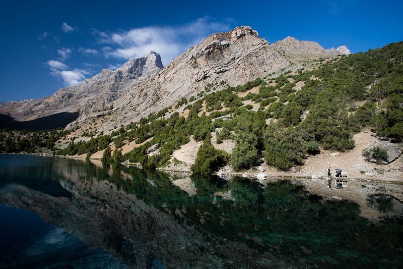 Two local hikers follow the shore of Alauddin Lake in the Fann Mountains of Tajikistan.