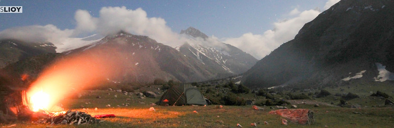 A campfire in the Kulikalon Basin of the Fann Mountains in Tajikistan.