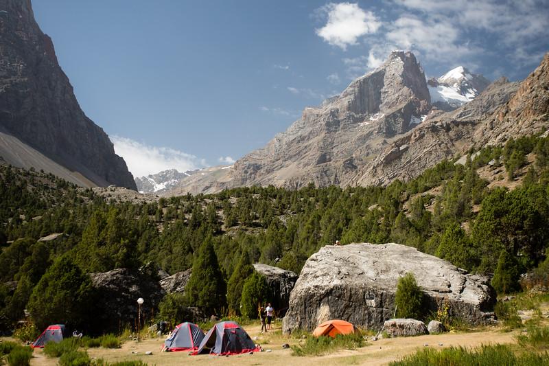 Climbers camp just outside of the Vertikal Alauddin Alplager in the Fann Mountains of Tajikistan.