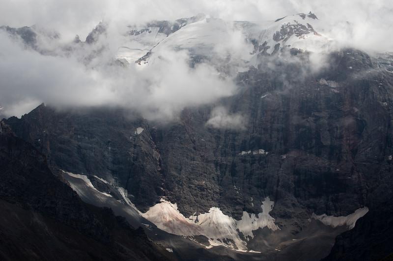 Rock wall below Peak Maria beyond the largest Kulikalon Lake in the Fann Mountains of Tajikistan.