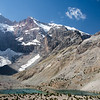 Small lake and surrounding peaks at the southern end of the Kulikalon Valley in the Fann Mountains of Tajikistan.