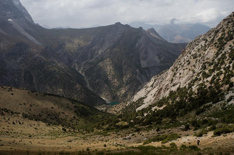 High-altitude view of the Chukurak Valley in the Fann Mountains of Tajikistan.