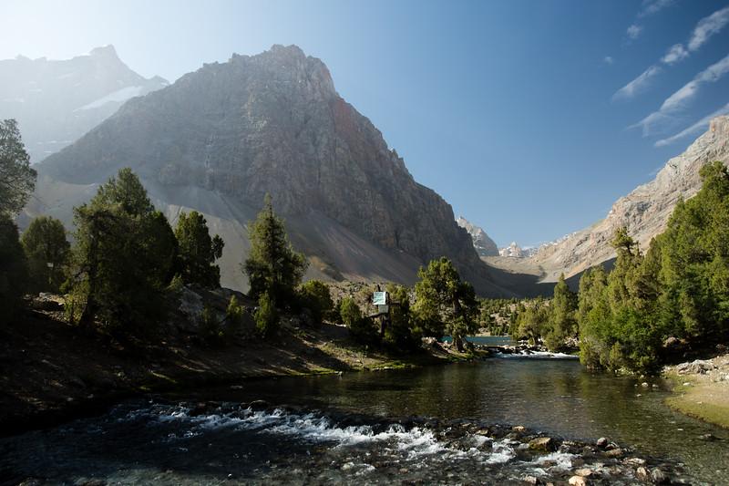 Morning light over a small lake below Alauddin in the Fann Mountains of Tajikistan.