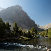 Morning light over a small lake below Alauddin in the Fann Mountains of Tajikistan.