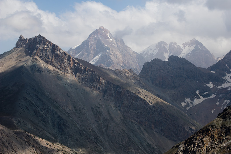 View of the Alauddin Ridge from the Chukurak Pass in the Fann Mountains of Tajikistan.