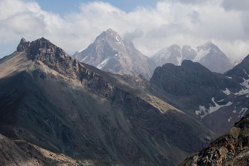 View of the Alauddin Ridge from the Chukurak Pass in the Fann Mountains of Tajikistan.