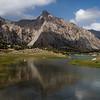 View backwards across the largest Kulikalon Lake to the bottom of the Kulikalon Valley in the Fann Mountains of Tajikistan.