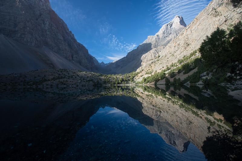 Sunrise over Alauddin Lake in the Fann Mountains of Tajikistan.