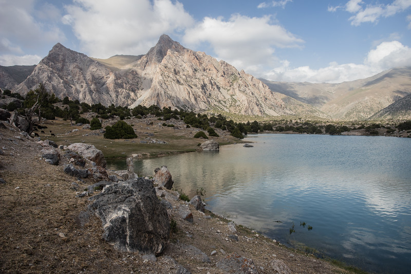 Sheep graze alongside the largest Kulikalon Lake in the Fann Mountains of Tajikistan.