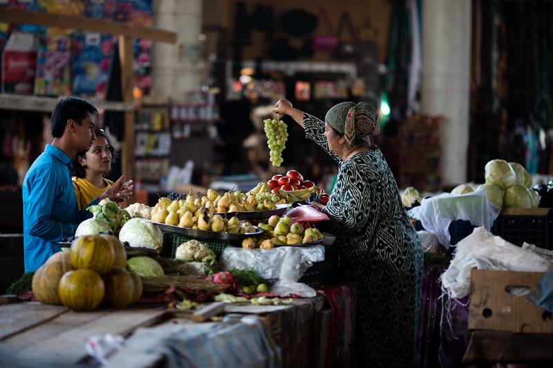 Shopping for produce in the local bazaar in Penjikent, Tajikistan.